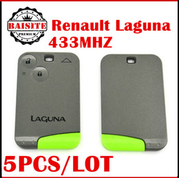 Wholesale Renault Card 433mhz - Free shipping 5pcs lot Renault Laguna 2 Key Card 433MHz Renault Smart Laguna Card 2 button Key auto car key with good feedback
