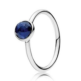 Wholesale September Sapphire - High quality 100% 925 Sterling Silver September Droplet with Dome-Cut Sapphire Ring European Style Jewelry Charm Ring
