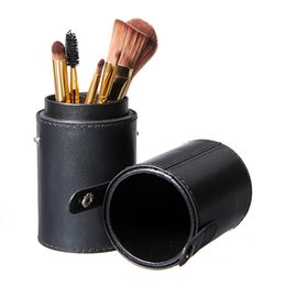 Wholesale Makeup Artist Box - Empty Black Leather Brush Holder Makeup Cosmetic Tools Case Artist Bag Travel Brushes Box
