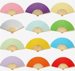 Wholesale Fan Blank Paper - New In Sock Hot Selling 13 colors Fans Colorful Paper Fans Children Painting Blank Fans B0316