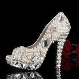 Wholesale Pearl Shoes Peep Toe Wedding - Luxury Silver Rhinestone Crystal Wedding Shoes For Women 2017 High Heel Peep Toe Imitation Pearl 3 CM Platform Summer Pumps Bridal Gown
