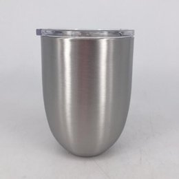 Wholesale Double Layer Glass Lid - 10oz Egg Cup Double Layer Stemless Mugs Powder Coated Stainless Steel Beer Wine Glasses Vacuum Insulated Cups With Clear Lid CCA8343 20pcs