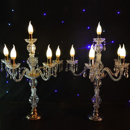 Wholesale Tall Crystal Candle Holders - 55CM to 150cm Tall Upscal Table Centerpiece Acrylic Crystal Wedding Candelabras Candle Holder Wedding Aisle Road Leads Props