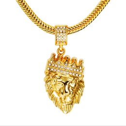 Wholesale Lionhead Necklaces - new men hip hop 18K gold diamond crown pendant necklace hiphop jewelry Lionhead pendant Long Necklace Men Hip-hop Jewelry