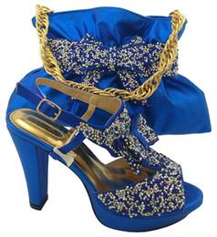 Wholesale High Wedges For Wedding - Popular high heel 11CM african shoes match handbag set with rhinestone women pump and bag for dress MM1042 royal blue