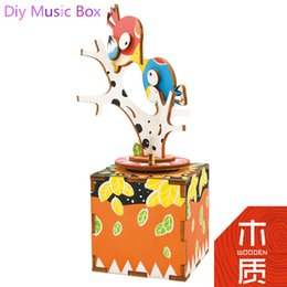Wholesale Wood Toys Furniture Doll House - Wholesale- Hot Sale Lover Gift Diy Puppenhaus Brithday Miniature Furniture House Toys for Children Wooden Box Toys Doll House JHZQW070-01