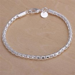Wholesale Fashion Jewelry Deals - Daily Deals! Fashion 4MM 925 Silver Box Chain Bracelets Jewelry Lovely Simple Chain Silver Bracelet Jewelry for women men Free Shipping H214