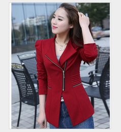 Wholesale Leisure Colours - Hot sale! New Women's Long Small Suit Jacket Zipper Female Leisure Suit Fashion Womens Lady Sexy Slim OL Blazer Women Outwear 4 Colours