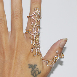 Wholesale 14k Gold Stacking Rings - Women Fashion Jewelry Multiple Finger Stack Knuckle Band Crystal Rings Set Women Vintage S925 Sterling Silver Finger Jewelry