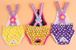 Wholesale Dog Clothing Sanitary - Pet Dog Cat Clothes Cotton Fashion Dot Suspender Pants Physiological Underwear Pets Sanitary Briefs Jumpsuits Pants
