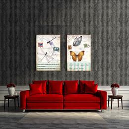 Peintures libellules en Ligne-Moderne ben étiré 2 Peintures Toile Art Libellule Et Papillon Décoration Peinture de la Maison Mur Art Décor Animal Photo Sur Toile
