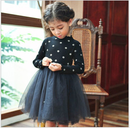 Wholesale Long Beach Sweater - 2016 New Autumn Girls Knitted Tutu Dress Kids Polka Dots Fall Winter Long Sleeve Sweater Dresses Children Tulle Stitching Dress Black&Pink