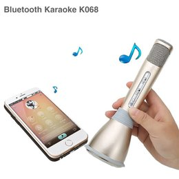 Wholesale Microphone For Recording Phones - K068 Wireless Bluetooth Microphone with Mic Speaker Condenser Mini Karaoke Player KTV Singing Record for Smart Phones Player