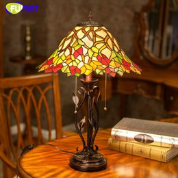 Wholesale Classical Study Table - FUMAT Tiffany Stained Glass Table Lamp European Classical Handmade Table Light Creative Bedside Lamps Maple Leaf Stand Light