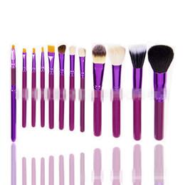 Wholesale Pot Protectors - Free shipping Wholesale-T2N2 Fashion 12Pcs Pro Soften Makeup Tools Brush Set Kit with Brush Pot Protector Travel