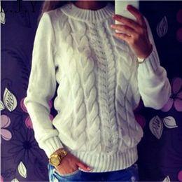 Wholesale Vintage Women S Sweaters - Wholesale-Vintage Casual Twist Knit Burderry Women Sweater Pullovers Oversized Loose Knitwear Tops Pull Femme Jumper