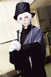 Wholesale Black Butler Undertaker - Wholesale-Anime Black Butler Undertaker Cosplay Costume Black Funeral Full Set Any Size Free Shipping NEW