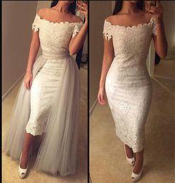 Wholesale Tea Length Off White Skirt - 2017 Elegant Evening Dresses Off Shoulder Cap Sleeve Lace Tea-length Prom Party Gowns with Detachable Skirt