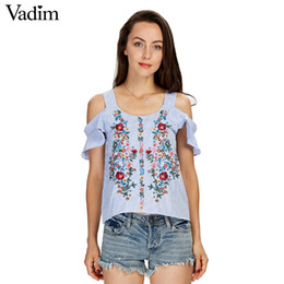 Wholesale Ladies Fashion Tops Wholesale - Wholesale- Vadim off shouder floral embroidery striped shirts sweet ruffles short sleeve blouse ladies casual brand tops blusas DT1103