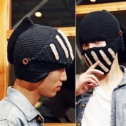 Wholesale Roman Winter Hat - Fashion Unisex Crochet Knit Beanie Ski Roman Knight Hat Gladiator Mask Wool Cap