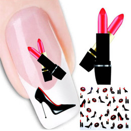 Wholesale Nail Sticker Lips - Red Lips Design French Manicure Water Transfer Nail Art Sticker Decal DIY Fingernail Tips Nail Tattoo Stickers Paper Tool