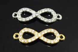 Wholesale Stretch Bracelet Connectors - Free Shipping 20pcs 32*11mm Wholesale Mixed Bead Grasses Sideways Rhinestone Infinity Silver Gold Connectors Stretch Bracelet Finding