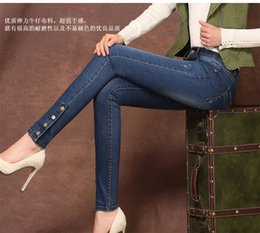 Wholesale Copper Pencil - Wholesale- Pantalones Mujer Denim Overalls For Women 2015 Copper Clasp High Waist Jeans Wash Hemming Skinny Jeans Women Trousers Pants