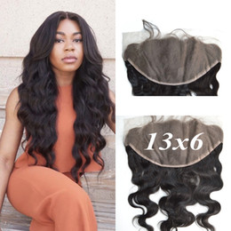 Wholesale Indian Remy Lace Frontals - 13x6 Virgin Indian Remy Human Hair Lace Frontal Closure Ear to Ear Free Part Lace Frontals Body Wave with Baby Hair G-EASY Free Ship