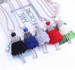Wholesale European Necklaces Statement - European Cute Long Chain Sweater Dress Dolls Necklace Statement Necklace Doll Pendant with Crystals for Girls