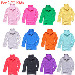 Wholesale Polo V Neck Tees - Spring autumn kids polo shirts long sleeve baby girls pure color shirt 13 different color boys Famous Brand Polo Casual Cotton Top tees