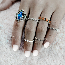 Wholesale Tibet Silver Natural Stone Rings - 6pcs set Vintage Natural Stone Midi Rings Set For Women Ancient Silver Carving Knuckle Ring Fashion Punk Boho Beach Jewelry