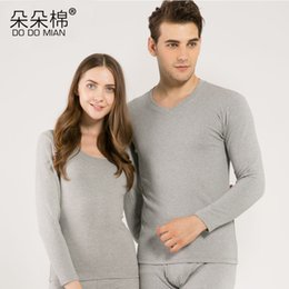 Wholesale Tight White Sleepwear - Wholesale-DO DO MIAN Combed Cotton Winter Long Johns Fitness Sleepwear for Couple Warm Thermal Underwear Sets tops+tight pant
