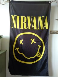 Wholesale Hanging Fabric - Nirvana Kurt Cobain Smiley Face 90 x 150 cm Polyester Black Rock Music Wall Hanging Poster Flag Fabric Banner