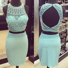 Wholesale Tight Mini Gown - 2016 Sexy Tight Short Sheath Two Piece Turquoise Beaded Cocktail Dress Sheer Crew Backless Homecoming Party Gowns Prom Pageant Dress