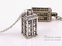 Wholesale Mysterious Box - Police Box Pendant Necklace Telephone Booth necklace Doctor who Tardis pendant necklace Mysterious Doctor Chains Jewelry DHL