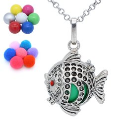 Wholesale Animal Callers - Antique Silver Fish Animal Hollow Cage Box Locket Aromatherapy Essential Oil Diffuser Chime Ball Angel Caller Pendant Necklace