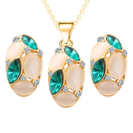 Wholesale Gold Pendant Sets Price - Wholeslae Price 12sets lot Women Oval Opal Crystal Pendant Necklace Stud Earrings African Jewelry Sets for Wedding Party Free Shipping