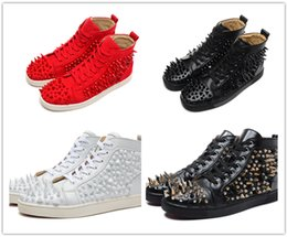 Wholesale Genuine Python Leather - Original Box Luxuious Women Men Red Bottom Sneakers Python Leather Spikes Gold Sliver Winter High Top Flat Lou Men Walking Rivets Shoes