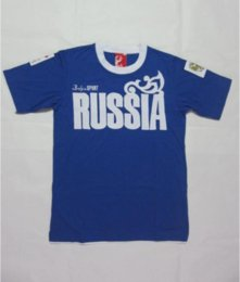 Wholesale Russian Embroidery - Bosco sports Russian Sochi summer Russia print sports jersey men's clothing t-shirt short-sleeve blue cotton tops male tee Shirts plus size