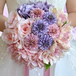 Wholesale Silk Lily Bouquets - Country Wedding Pink Purple Beach Vintage Wedding Decoration Artificial Bridesmaid Flower Silk Rose 18PCS WF052PP Top Bridal Wedding Bouquet
