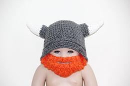 Wholesale Crochet Baby Horns Hat - Children's beanie cap,crochet Children's cartoon vikings horn hat with Bearded face mask,baby Beanies , newborn Photography prop 100% cotton