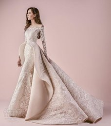 Wholesale Wedding Dress Embellishments - Middle East long sleeves off the shoulder full embellishment pepblum wedding dresses 2018 saiid kobeisy bridal a line wedding gowns