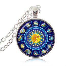 Wholesale Religious Pictures - Zodiac Necklace Horoscope Pendant 12 Constellation Jewelry Religious Statement Chain Necklace Sun and Moon Picture Jewellery
