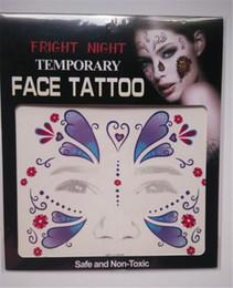 tatuagens de transferência facial Desconto Fright Night Temporary Face Tattoo Body Art Transferência de Costas Tatuagens Temporárias Adesivos em estoque 9 estilos