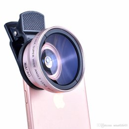 Wholesale 37mm Wide - 2 in 1 Professional HD 37mm 0.45X Super Wide Angle + 12.5X Macro Lens for iPhone Samsung HTC LG Mobile Phone Camera Lens CL1588