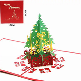 Wholesale Paper Xmas Trees - 3D Christmas Getting Card Paper Laser Cut Greeting Cards Creative Handmade Merry Christmas Xmas Tree Souvenirs Postcards
