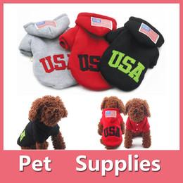 Wholesale Black White Dog Clothes - Hot Sale USA Big Dog Pets Warm Cotton Jacket Vest Winter Coat Hoodie Puppy Winter Clothes Pet Costume Pet Supplies 160912