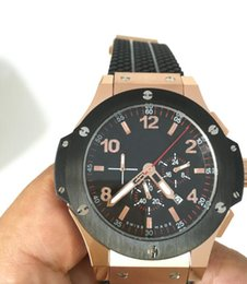 Wholesale Power King - Luxury AAA Brand 44mm Black King Power Diver Oceanographic 18K Rose Gold Mens Quartz Chronograph Watch Rubber Men's Movement Wristwatches