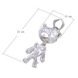 Platin schlüsselbund online-Großer zirkonia-Bär Keychain kupferner Schmucksache-Zusatz-Platin überzogenes Nickel-Blei-Cadmium geben frei 22x10mm Loch: Über 3.3mm 10PCS / Lot