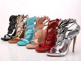 Wholesale Golden Medium Heel Shoes - 2016 Summer Golden Metal Wings Leaf Strappy Dress Sandal Silver Gold Red Gladiator High Heels Shoes Women Metallic Winged Sandals Women